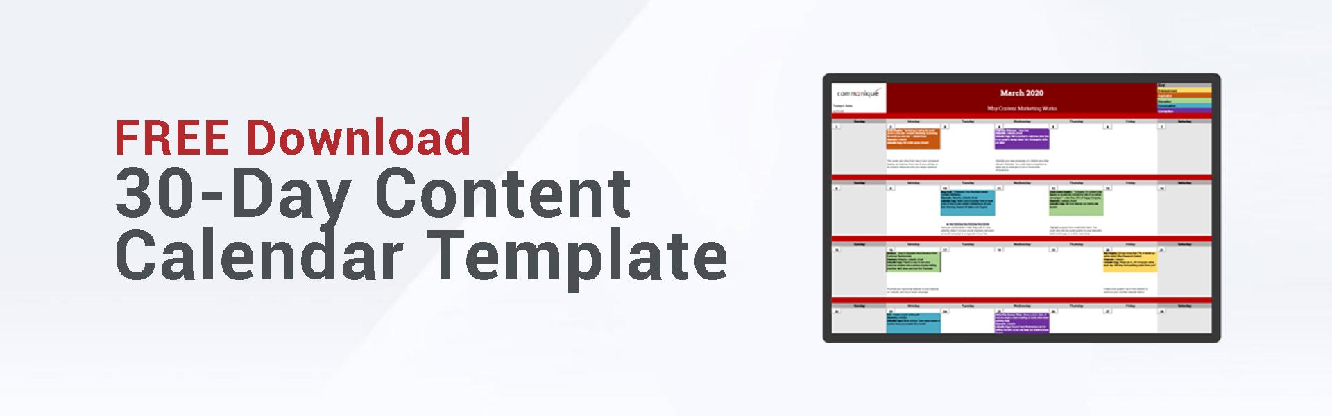30-day Content calendar template
